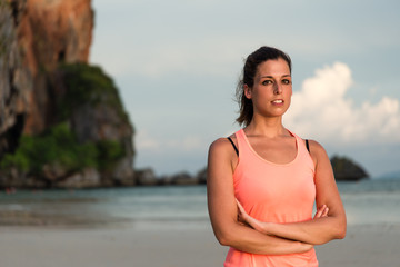 Female athlete portrait at the beach