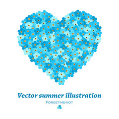 vector heart made of forget-me-not flowers