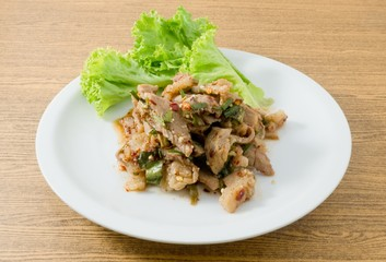 Spicy Grilled Beef Salad on White Dish
