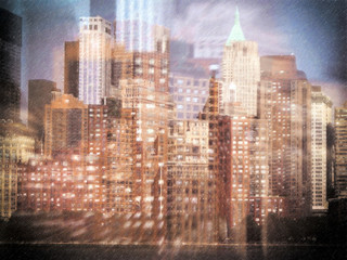 Composite image of New York City on the move. Drawing style