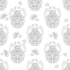 Hand drawn Zentangle seamless pattern with Bugs on white background. Use for cards, invitation, wallpapers, pattern fills, web pages elements and etc.