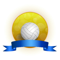 Background abstract volleyball blue yellow ball circle ribbon frame illustration vector