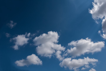 Clouds in blue sky with natural aura light.