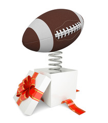 Gift box with red band and rugby ball on spring