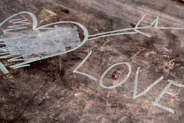 The word love written on a blackboard