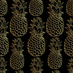 Exotic seamless pattern with silhouettes tropical fruit