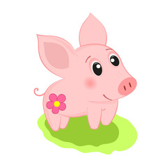 Pig smiling. Cheerful pig.
