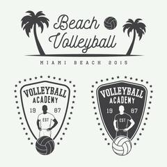 Set of vintage volleyball labels, emblems and logo. Vector illustration