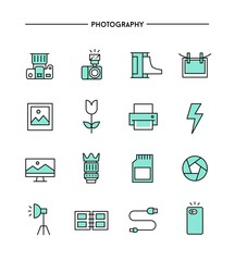 set of flat design, thin line photography icons