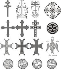 Векторные изображения креста, ангела, Евангельских зверей