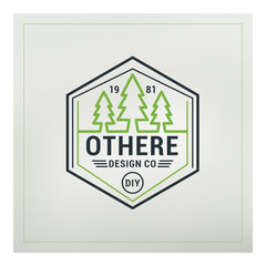 Line Art Badge or Logo in Vintage Colors