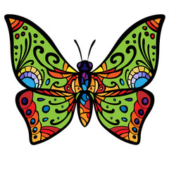 The stylized image of a butterfly, painted in psychedelic colors. Vector graphics.