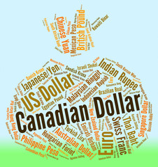 Canadian Dollar Shows Canada Dollars And Currency