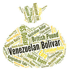 Venezuelan Bolivar Shows Worldwide Trading And Exchange