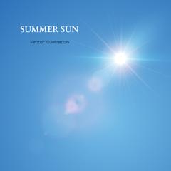 Summer Sun. Sky Background. Vector