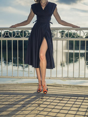 Sexy elegant woman by lake in park