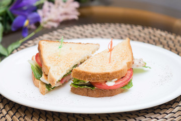 Two sandwiches on plate. White bread. Meal, dinner