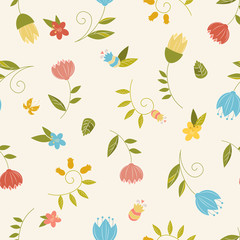 Seamless pattern with decorative flowers and leaves. Pattern can be used for textile design, web page background, wallpaper