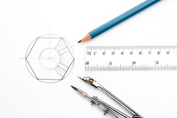 Accessories for drawing on a white sheet of paper