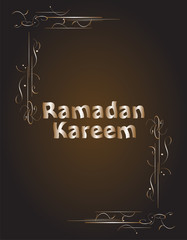 Ramadan Kareem gold lettering star new moon, mockup Islamic greeting card