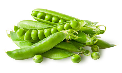 Pile green peas in pods with peas