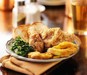 southern soul food with fried chicken and collard greens