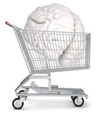 Human brain in shopping cart