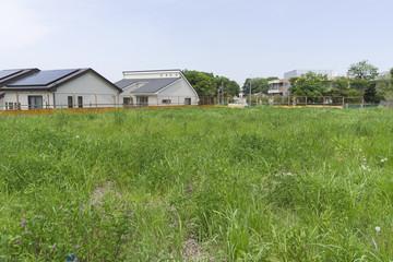 分譲住宅の更地 宅地造成前 雑草 フェンスあり