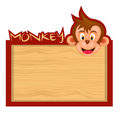 Wood board banner with monkey