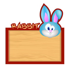 Wood board banner with rabbit