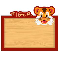 Wood board banner with tiger
