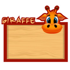 Wood board banner with giraffe