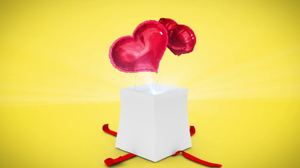 Wall Mural - Digital animation of birthday gift exploding and revealing heart