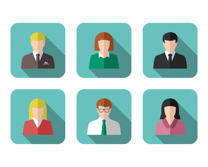 Business people profile picture and icon set in flat design with long shadow