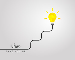 Bright lightbulb with wire as business idea and success concept
