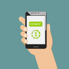 Online payment concept with smartphone in the hand. Money transaction with mobile app.