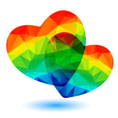 two rainbow hearts