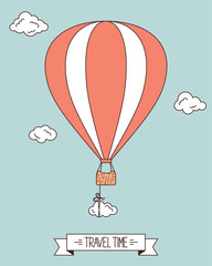 Hot air balloon with clouds and banner for your text