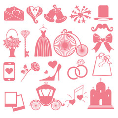 Vector Wedding flat  icons set for Web and Mobile.Pink