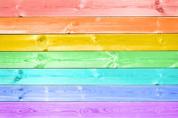 Pastel colorful rainbow painted wood planks background