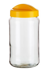 Glass jar for loose products on a white isolated