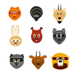vector illustration set forest animals flat silhouettes