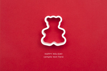 Holiday card with mold of bear for baking