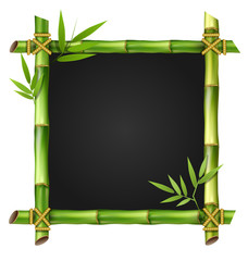 Bamboo grass frame with leafs isolated on white background