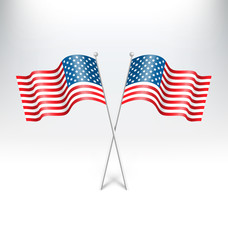 Wavy USA national flags on grayscale background