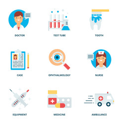 Medical vector icons set modern flat style