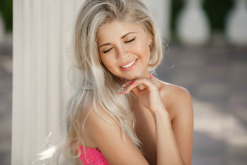 Beautiful young girl smiling face summer woman portrait