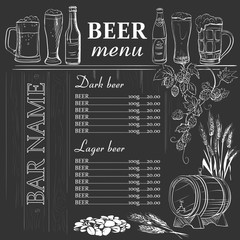 Beer menu hand drawn on chalkboard