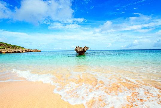 Heart rocks and clean sea, Okinawa, Japan