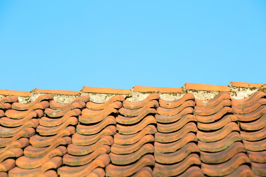 Old weathered tile roof